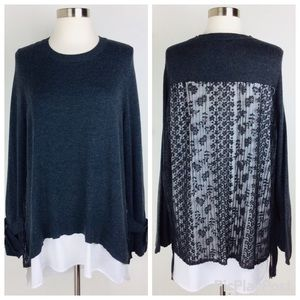 Simply Vera Boho Chic Gray Lace Sweater Size (L)
